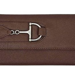 Faux Leather Snaffle Bit Wallet - Brown