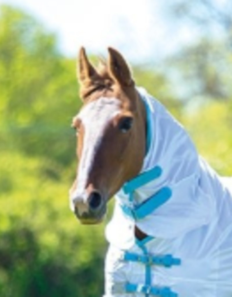 Shires Fly Sheet Neck Attachment White/Teal