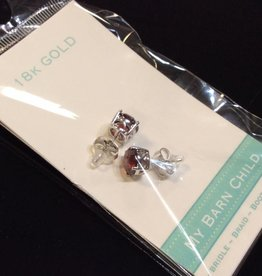 My Barn Child My Barn Child 18K Gold Earrings - White Gold /Red