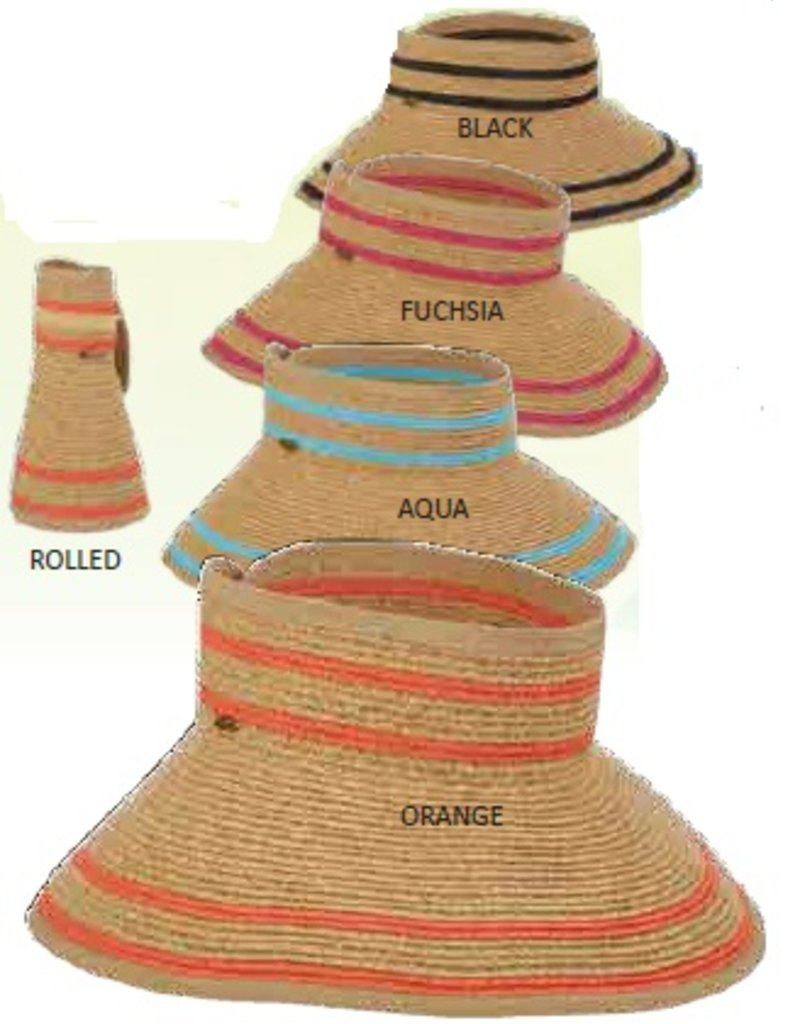 """Scala 4"""" Paper Braid Roll Up Visor with Stripe"""