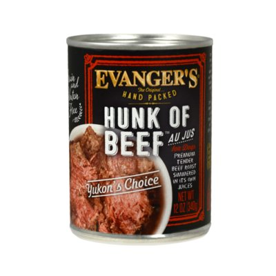 Evanger's Evanger's Hand Packed Hunk of Beef Wet Dog Food 12oz