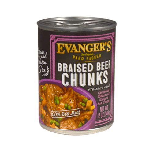 Evanger's Evanger's Hand Packed Braised Beef Chunks Wet Dog Food 12oz