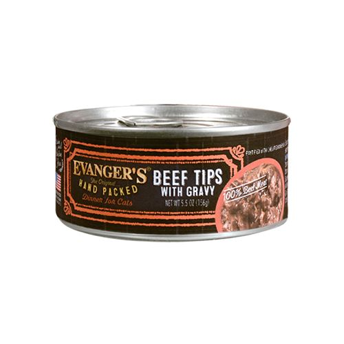 Evanger's Evanger's Hand Packed Beef Tips with Gravy Wet Cat Food 5.5oz