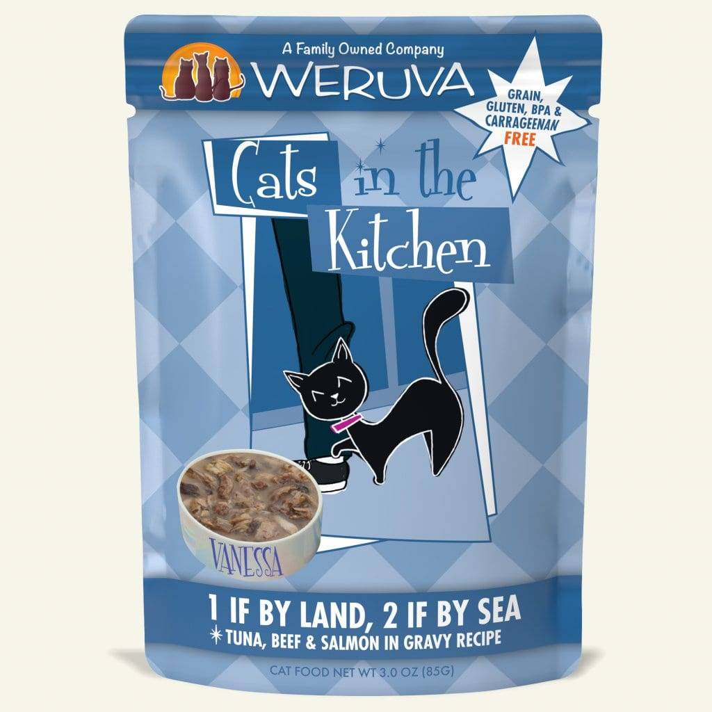 Weruva Weruva Cats in the Kitchen 1 If By Land, 2 If By Sea Wet Cat Food Pouch 3oz