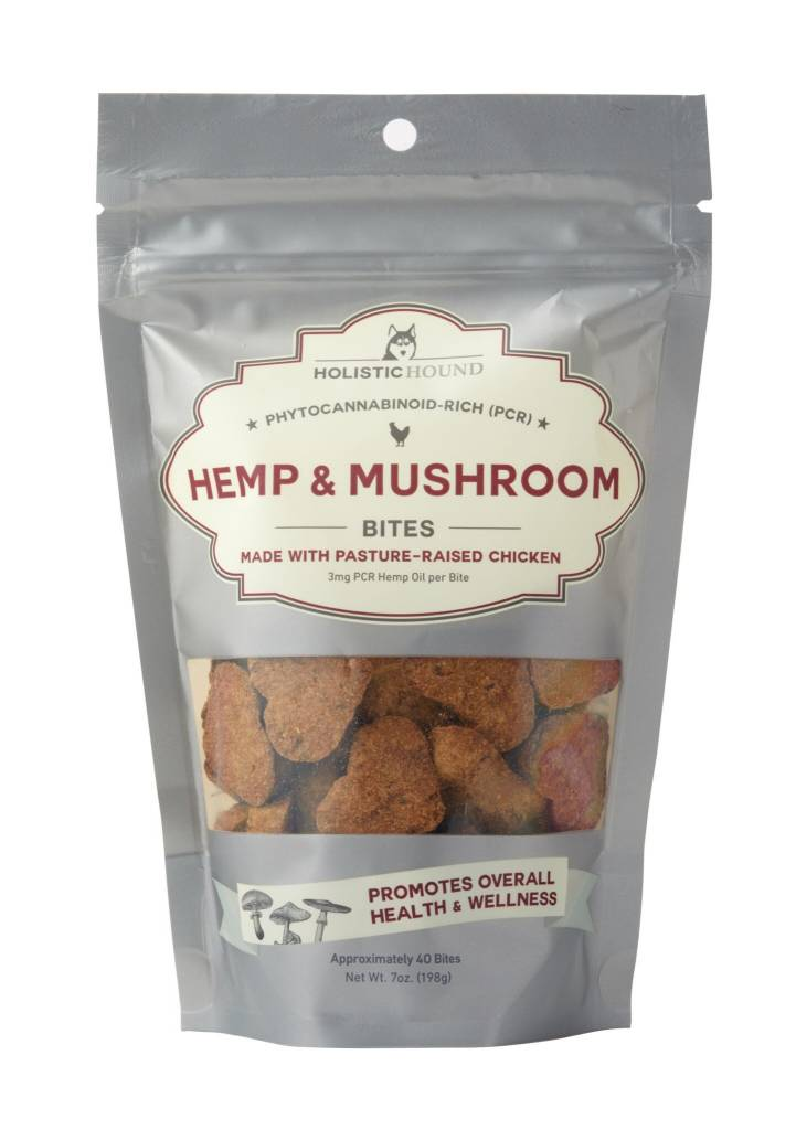 Holistic Hound Holistic Hound Hemp & Mushroom Chicken Bites CBD Supplement 3mg 7oz