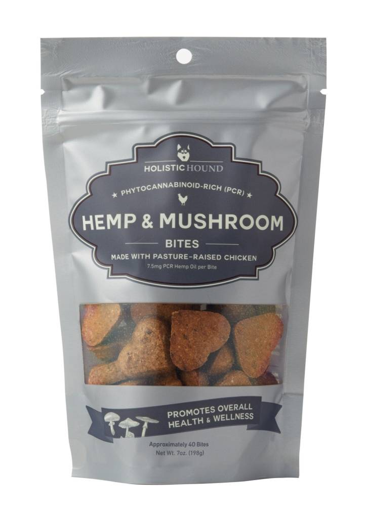 Holistic Hound Holistic Hound Hemp & Mushroom Chicken Bites CBD Supplement 7.5mg 7oz