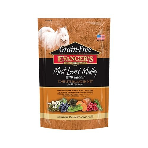Evanger's Evanger's Grain Free Meat Lover's Medley with Rabbit Dry Dog Food 4.4#