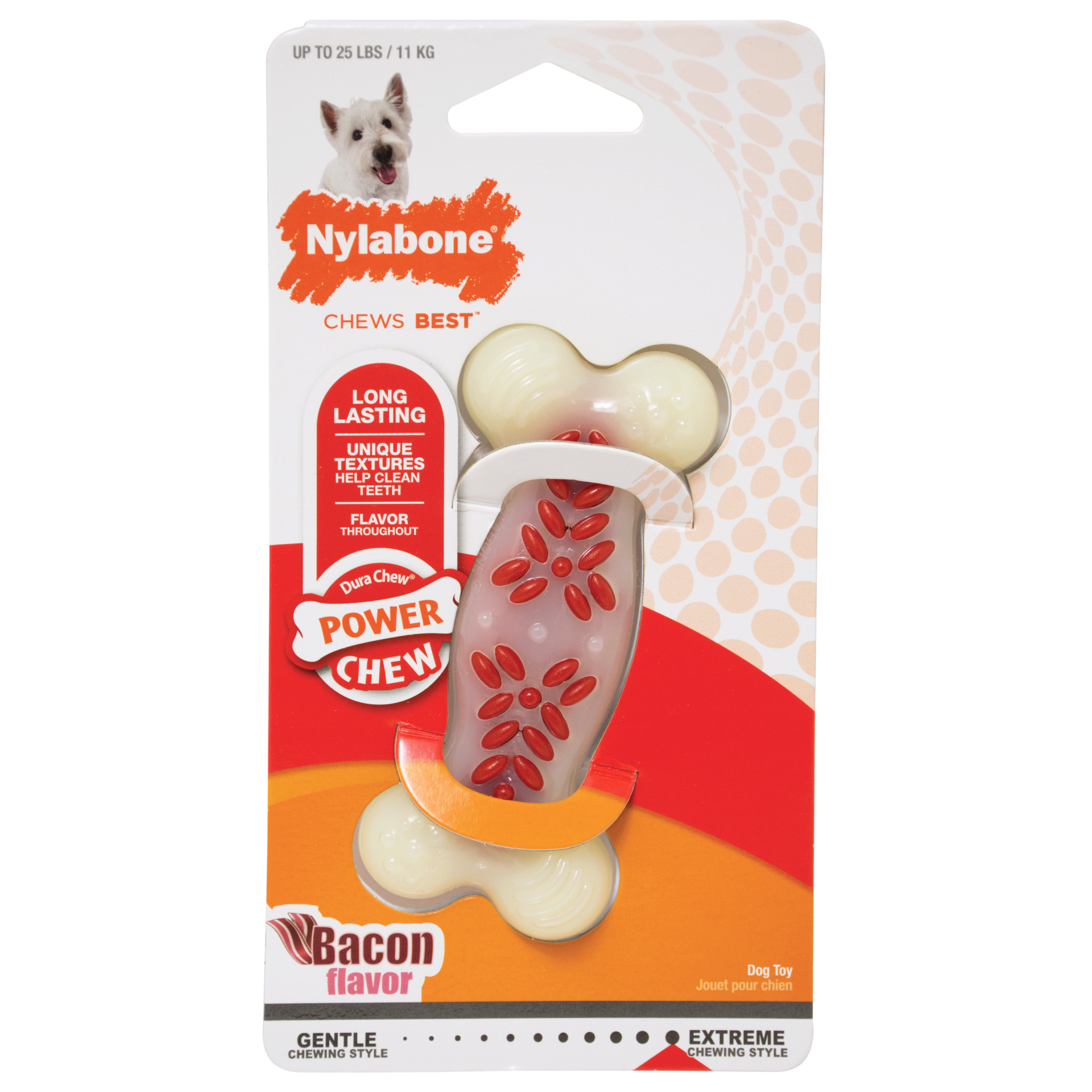 Nylabone Nylabone Power Chew Action Ridges Bacon Dog Toy Wolf
