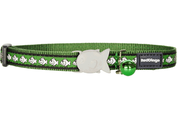 Red Dingo Reflective Cat Collar Green Fish