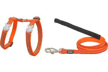 Red Dingo Red Dingo Designs Cat Harness & Lead Snake Eyes Orange