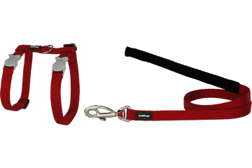 Red Dingo Red Dingo Classic Cat Harness & Lead Red