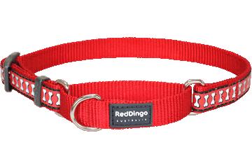 Red Dingo Red Dingo Reflective Martingale Dog Collar Bones Red