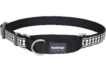Red Dingo Reflective Martingale Dog Collar Bones Black