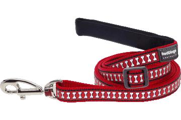 Red Dingo Reflective Adjustable Dog Lead Bones Red