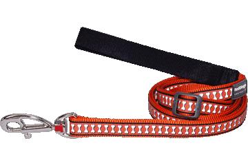 Red Dingo Reflective Adjustable Dog Lead Bones Orange