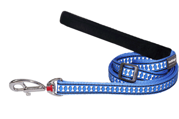 Red Dingo Reflective Adjustable Dog Lead Bones Medium Blue