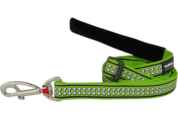 Red Dingo Reflective Adjustable Dog Lead Bones Lime Green