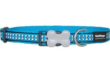 Red Dingo Reflective Dog Collar Bones Turquoise