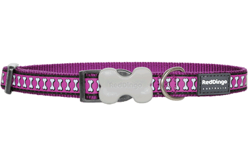 Red Dingo Red Dingo Reflective Dog Collar Bones Purple