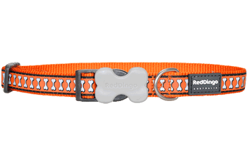 Red Dingo Red Dingo Reflective Dog Collar Bones Orange