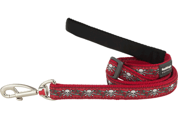 Red Dingo Red Dingo Designs Adjustable Dog Lead Skull & Roses Red