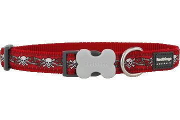Red Dingo Red Dingo Designs Dog Collar Skull & Roses Red