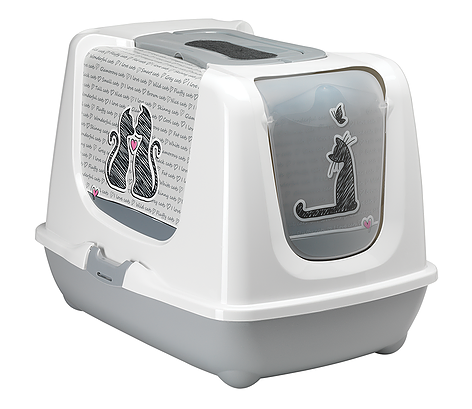 Moderna Moderna Cats in Love Trendy Cat Closed Litter Box Speckled Gray