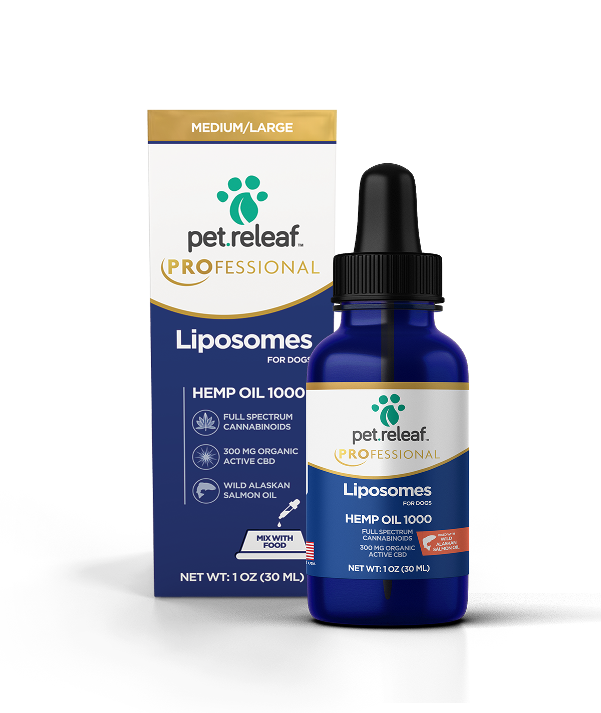 Pet Releaf Pet Releaf Hemp Oil with Liposomes CBD Supplement 1000 300mg 1oz