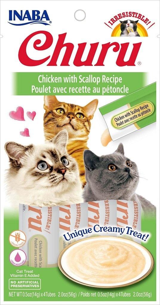 Inaba Inaba Churu Purees Chicken with Scallop Cat Treats 4ct