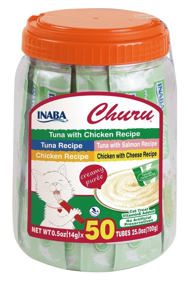 Inaba Inaba Churu Purees Tuna & Chicken Cat Treat Variety Tub 50ct
