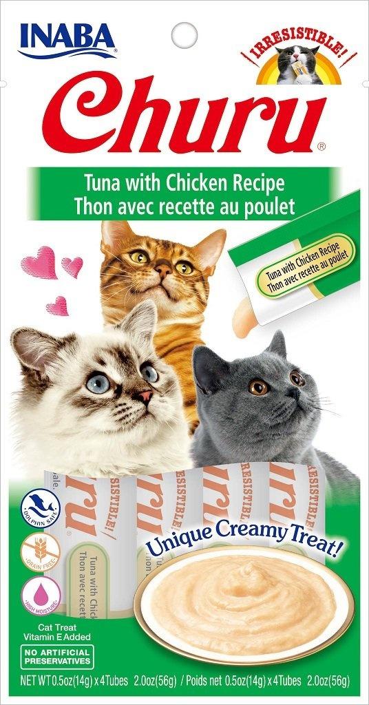 Inaba Inaba Churu Purees Tuna With Chicken Cat Treats 4ct