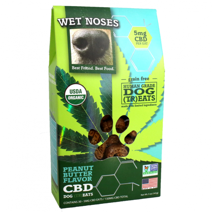 Wet Noses Wet Noses Organic Grain Free Peanut Butter CBD Dog Treats 5oz