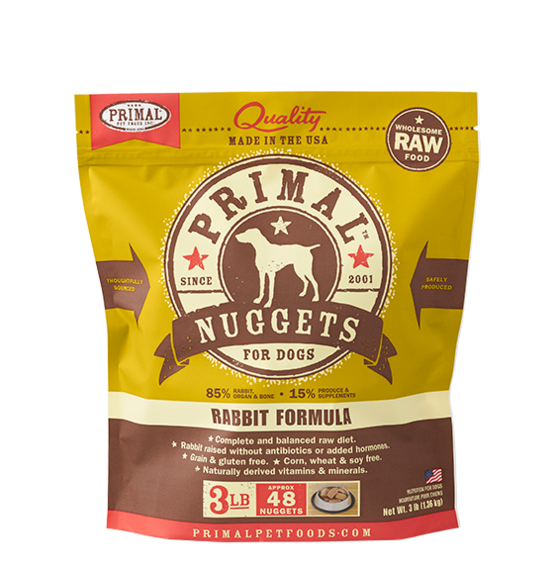Primal Primal Rabbit Raw Dog Food 3# Nuggets