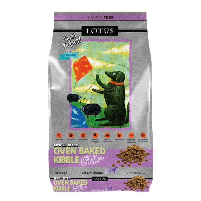 Lotus Lotus Oven Baked Grain Free Lamb & Turkey Liver Small Bites Dry Dog Food