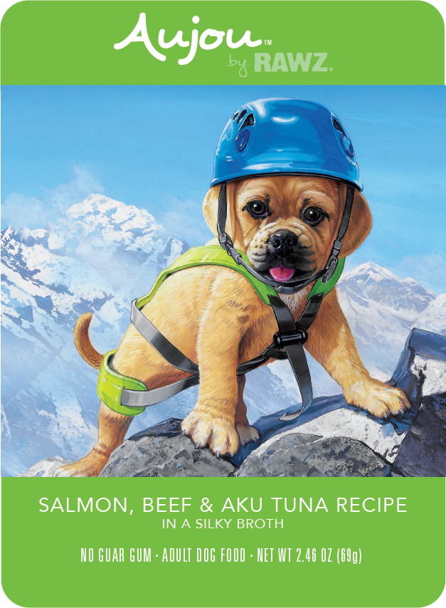 Rawz Rawz K9 Aujou Shredded Salmon, Beef & Tuna Wet Dog Food 2.46oz