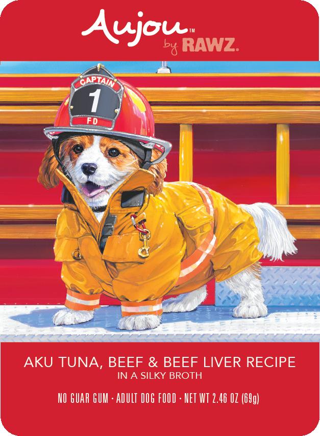 Rawz Rawz K9 Aujou Shredded Aku Tuna, Beef & Beef Liver Wet Dog Food 2.46oz