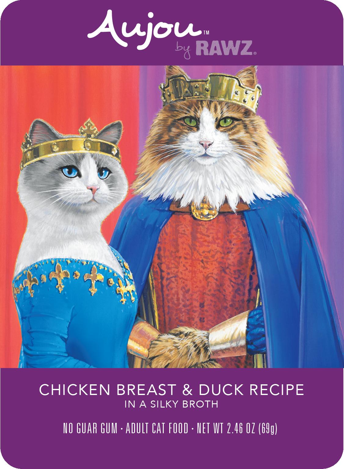Rawz Rawz Cat Aujou Shredded Chicken Breast & Duck Wet Cat Food 2.46oz
