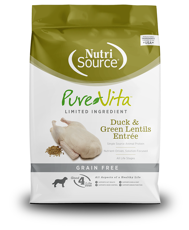 NutriSource PureVita Grain Free Duck & Green Lentils Dry Dog Food