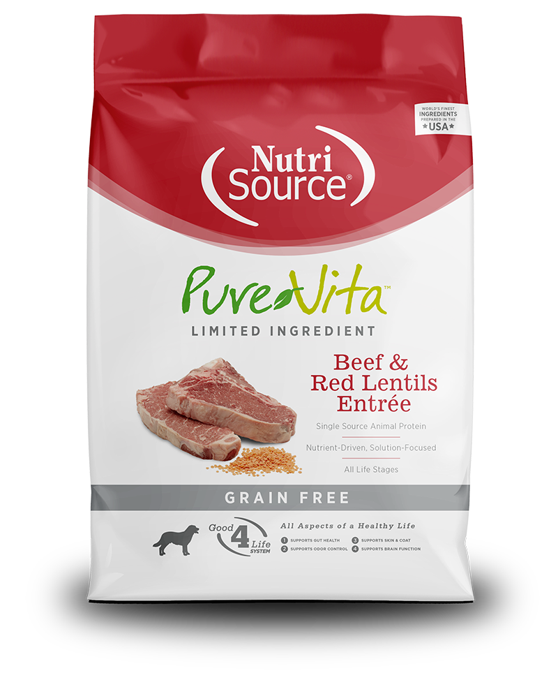 NutriSource PureVita Grain Free Beef & Red Lentils Dry Dog Food