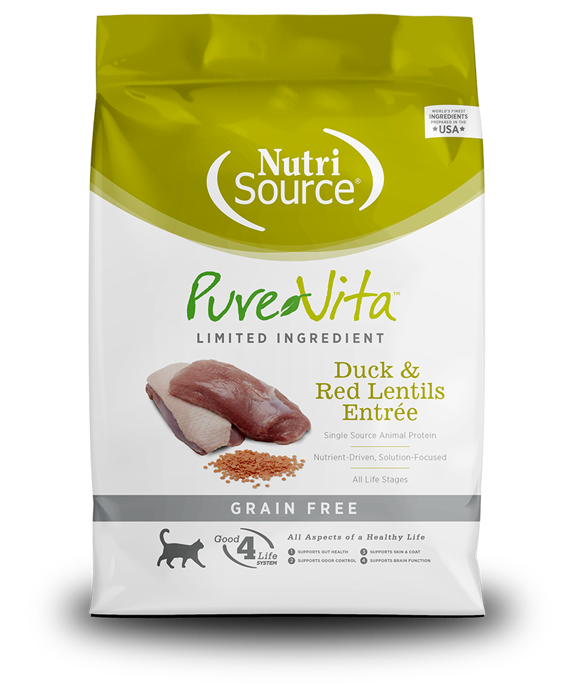 NutriSource PureVita Grain Free Duck & Red Lentils Dry Cat Food