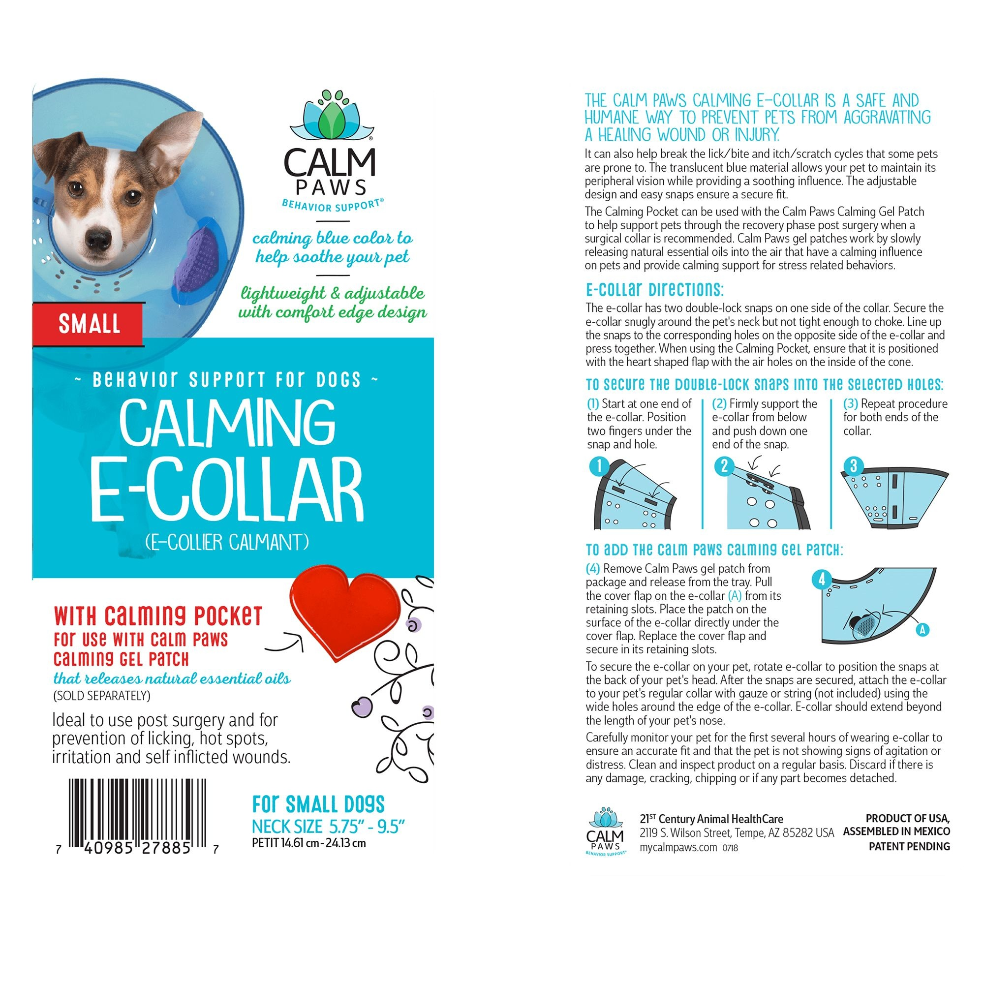 21st Centry Animal Health Care Calm Paws Calming Elizabethan Collar