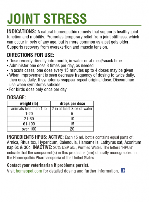 HomeoPet HomeoPet Joint Stress Supplement