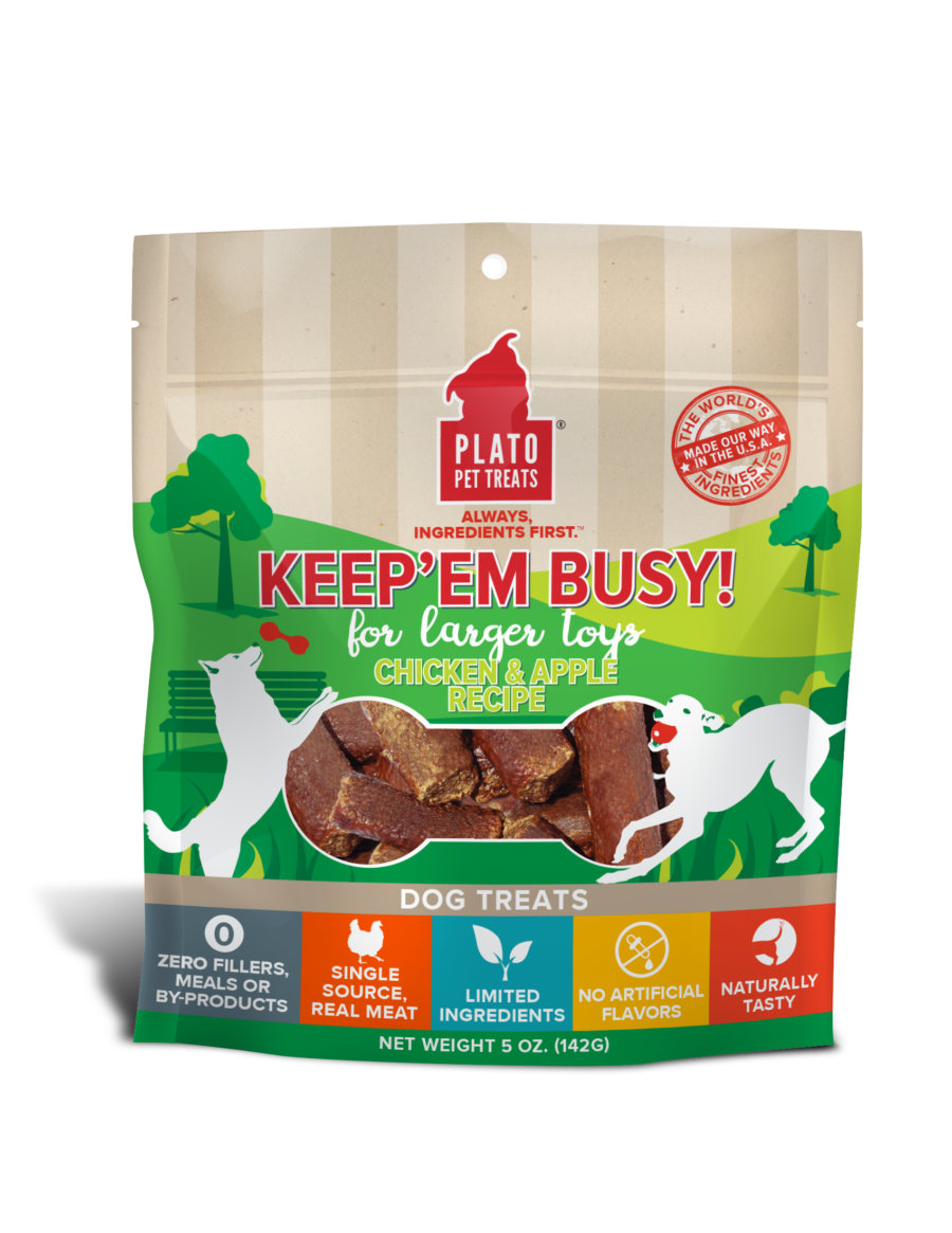 Plato Plato Keep Em' Busy Chicken & Apple Large Dog Treats 5oz