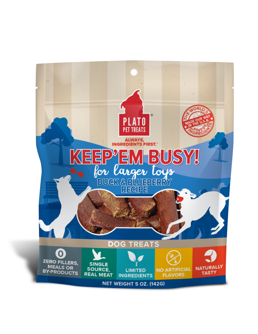 Plato Plato Keep Em' Busy Duck & Blueberry Large Dog Treats 5oz