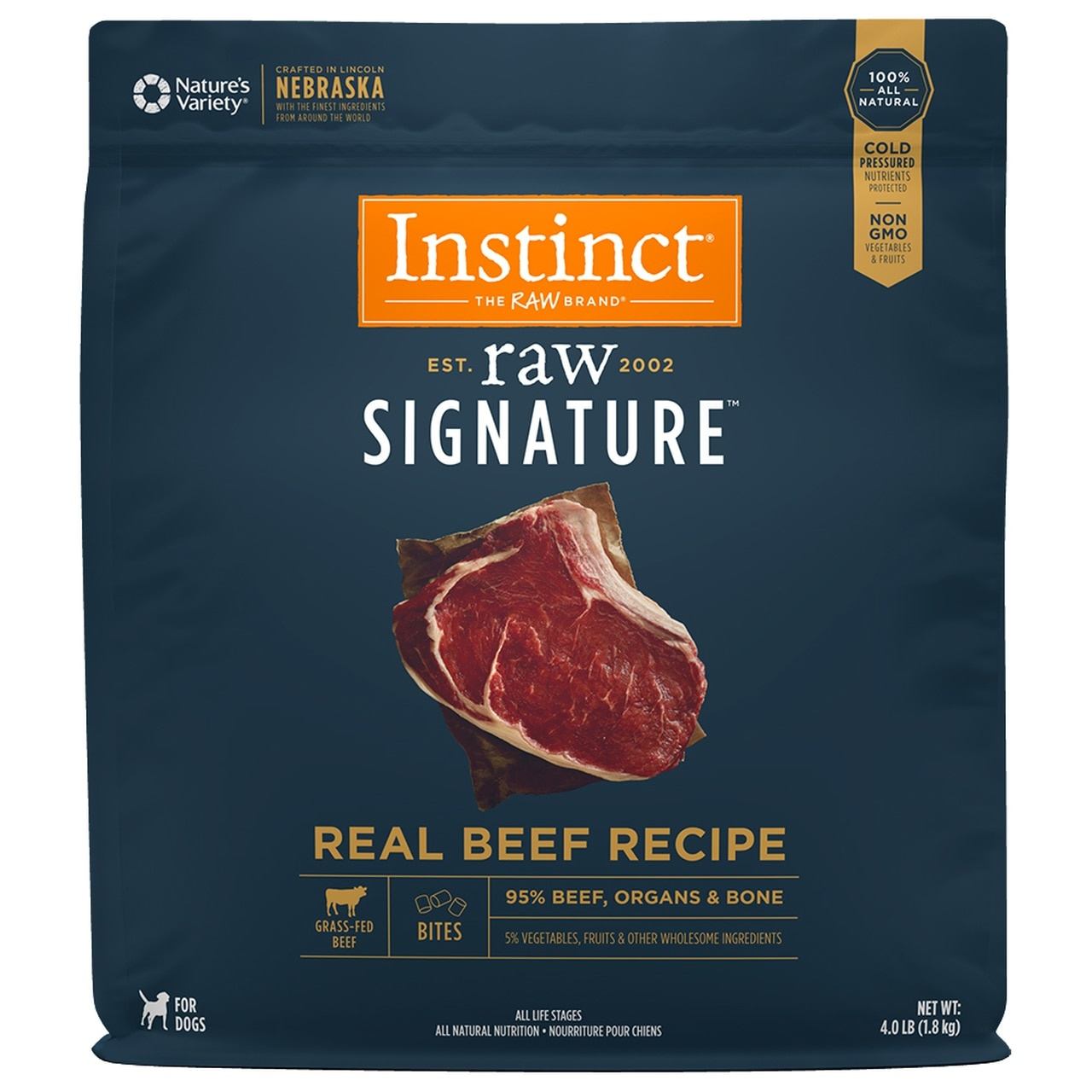 Instinct Instinct Signature Bites Real Beef Raw Dog Food
