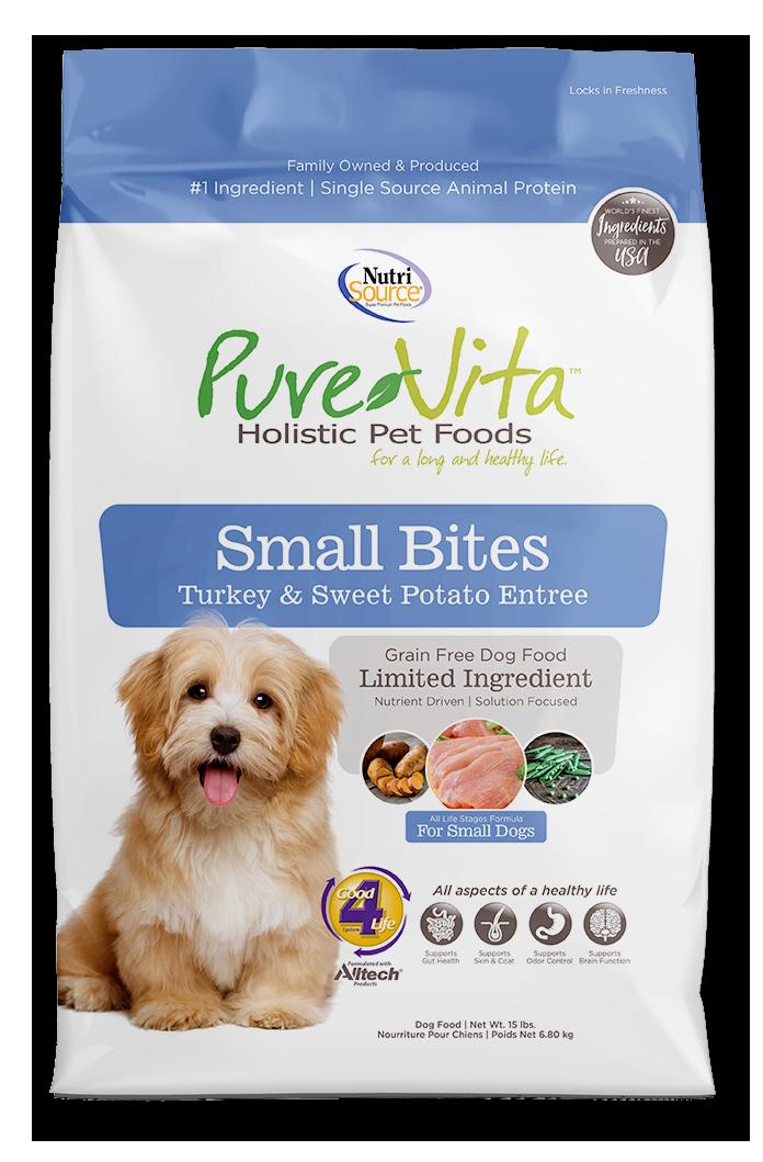 NutriSource PureVita Grain Free Turkey & Sweet Potato Small Bites Dry Dog Food 5#