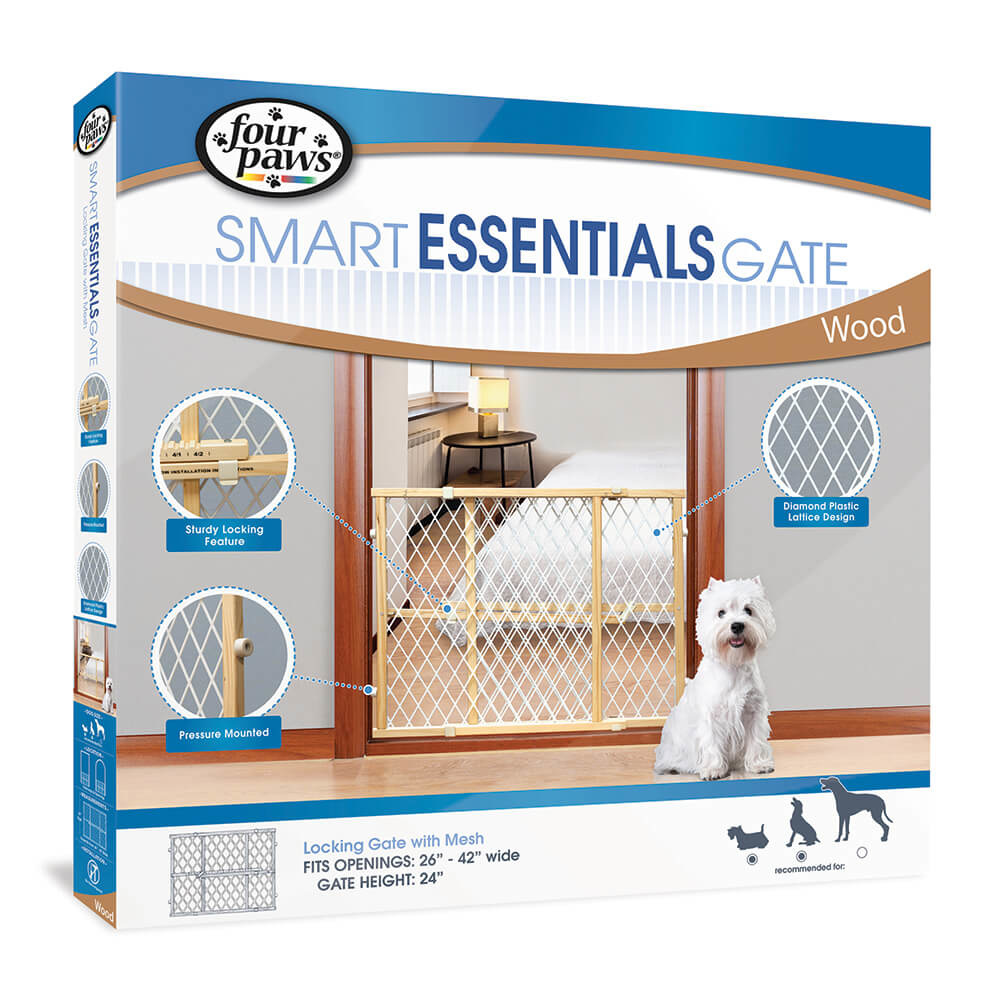 Four Paws Four Paws Smart Essentials Wood Frame with Plastic Mesh 26-42W x 24H