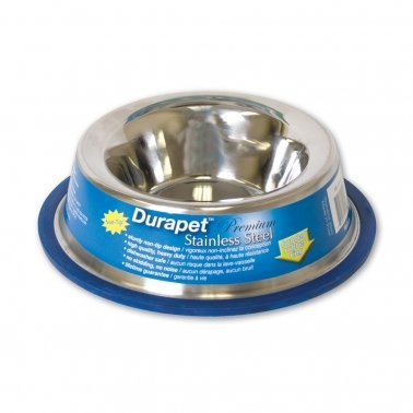 Durapet Rubber-Bonded No Tip Stainless Steel Dog Bowl