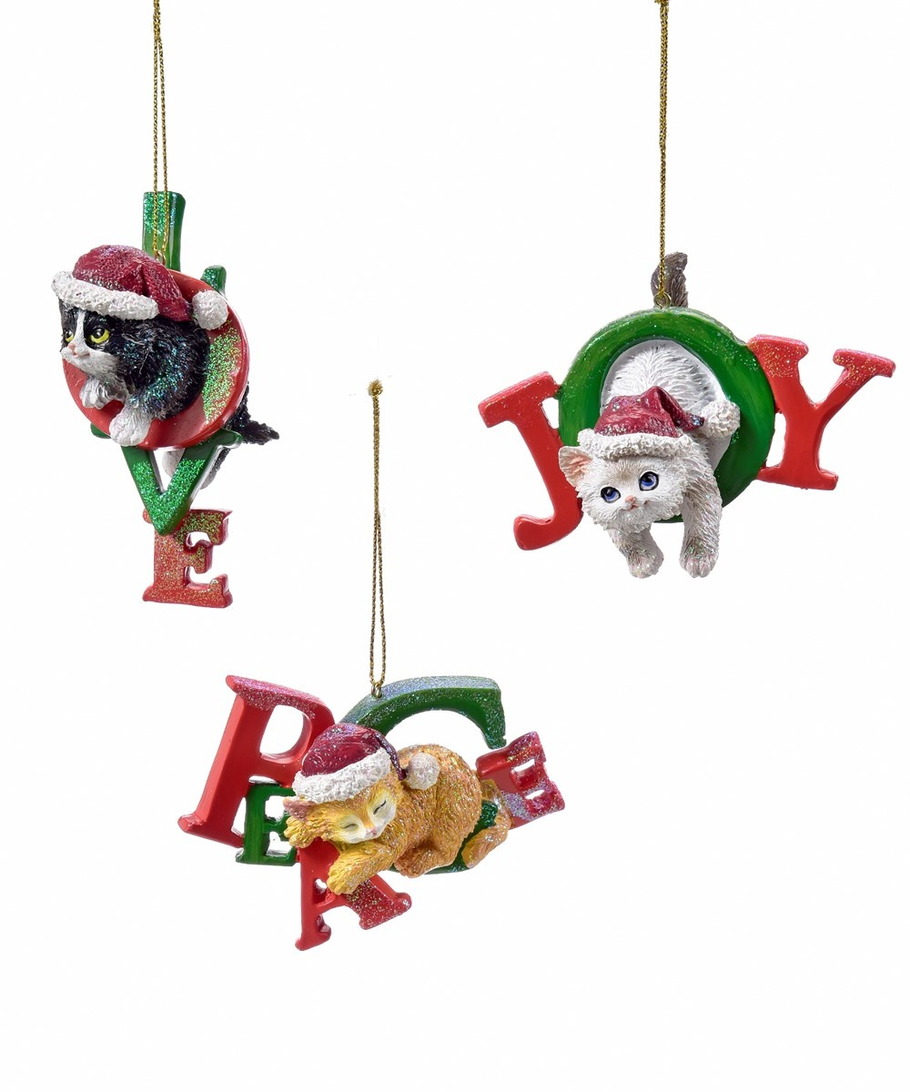 GiftCraft Cats in Words Christmas  Ornaments