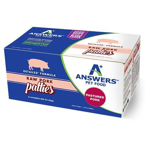 Answers Answers Detailed Pork Patties Raw Dog Food 4#